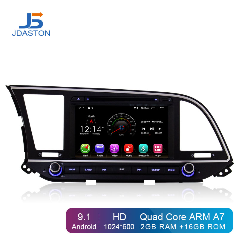 JDASTON Android 9.1 Jogador Do Carro DVD Para Hyundai ELANTRA 2016 2017 WIFI GPS de Navegação 2 Din Estéreo Rádio Do Carro Multimídia RDS Mapa