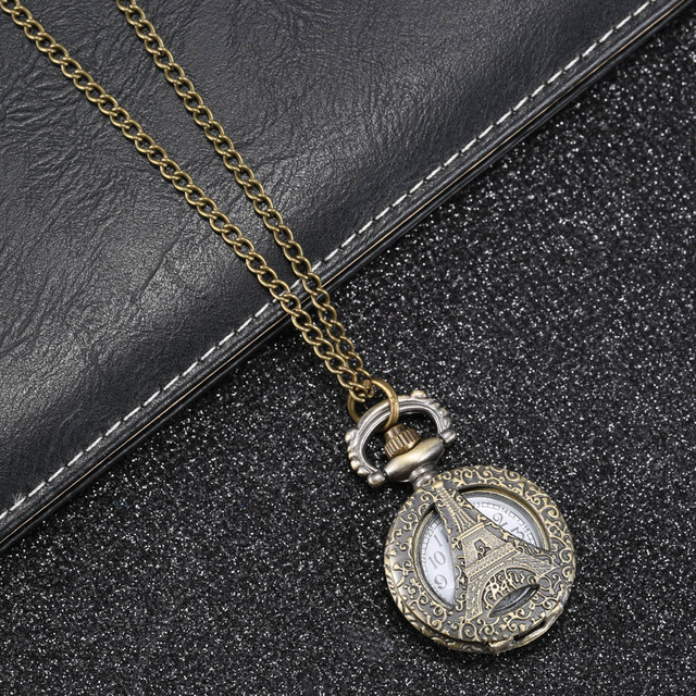 Fashion Vintage Quartz Pocket Watch Alloy Hollow Out Eiffel Tower Sweater Chain