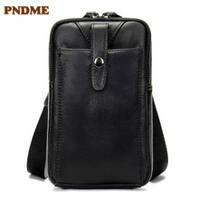 Leather mens bag personality leisure single shoulder inclined cross small outdoor multi-functional pocket money