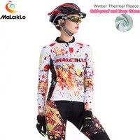 Malciklo Dazzling Winter Thermal Fleece Women Cycling Jersey Set Pro Team Long Clothes/Bike Wear Clothing Maillot Cycling Sets