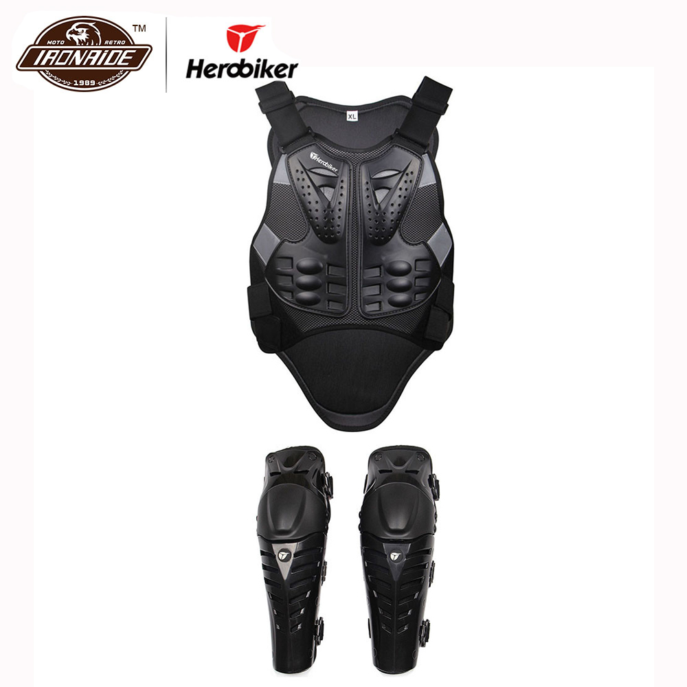 HEROBIKER Moto Armor Vest Motorcycle Knee Pads Guards Motorcycle Accessories Protective Gears Jacket Waistcoat XL L herobiker motorcycle jacket body armor motocross protective gear motocross off road racing vest moto armor vest black and white