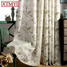 Cortinas para el Dormitorio Cortinas para la Sala de estar moderna Gris  verde bordados cortinas transparentes cortinas persianas de tela