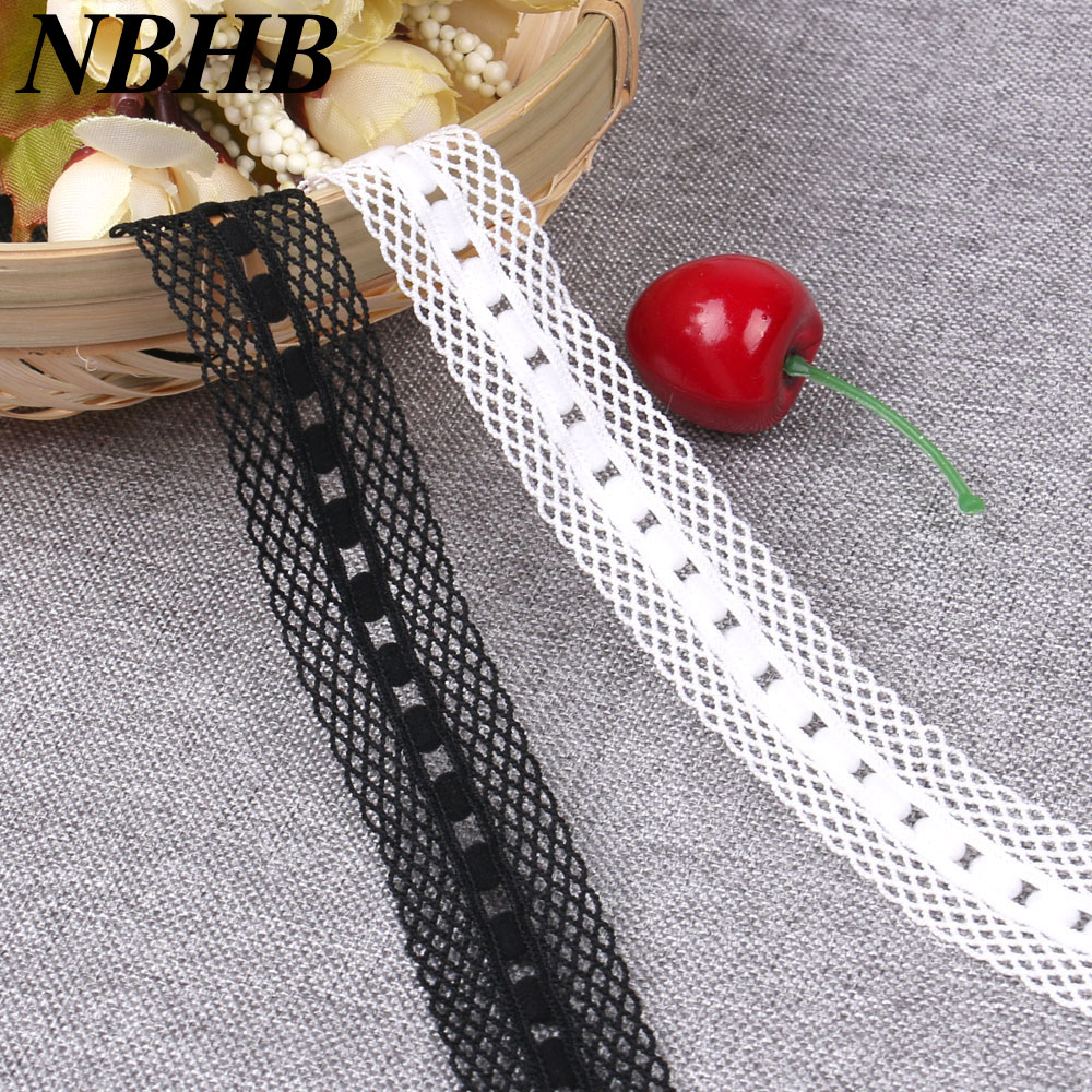 NBHB 5yards 20mm Wide hair tie Black White Elastic Ribbon Embroidered lace trim Diy Clothing Wedding handmade decoration crafts