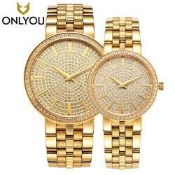 Onlyou Элитный бренд золото Сталь Мужские кварцевые наручные часы модные повседневные платья женские Часы 50 м Водонепроницаемый пару часов