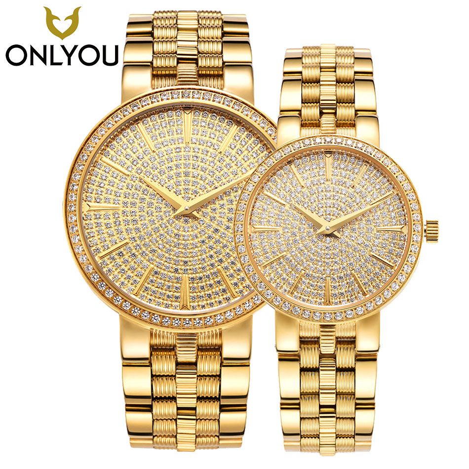 ONLYOU Luxury Brand Gold Steel Men's Quartz Wristwatch Fashion Casual Dress Woman Watches 50m Waterproof Couple Watch 1/Pair onlyou new brand quartz lovers watches women men dress stainless steel band dress wristwatches fashion casual watch gold 1 pair