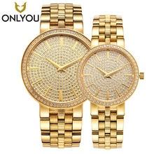 ONLYOU Luxury Brand Gold Steel Men's Quartz Wristwatch  Fashion Casual Dress Woman Watches 50m Waterproof Couple Watch 1/Pair