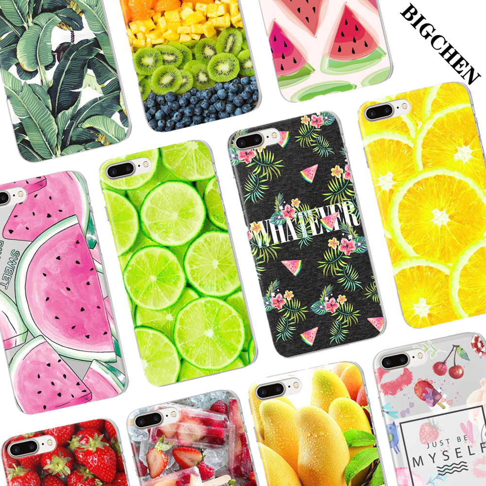 Summer Fruit Lemon Watermelon Pattern Cell Phone Case For iPhone 6 6S 7 Plus 5 5S SE Transparent Silicone Phone Back Cover mobile phone