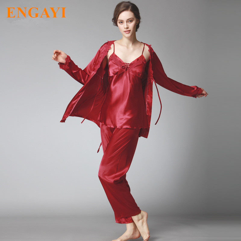 acb3676d44 4 Colors Women Silk Satin Pajamas Pyjama Sets Pijamas Sexy Robes Bathrobe  Nightgown Sleepwear Longue Femme Night Gown QTZ196