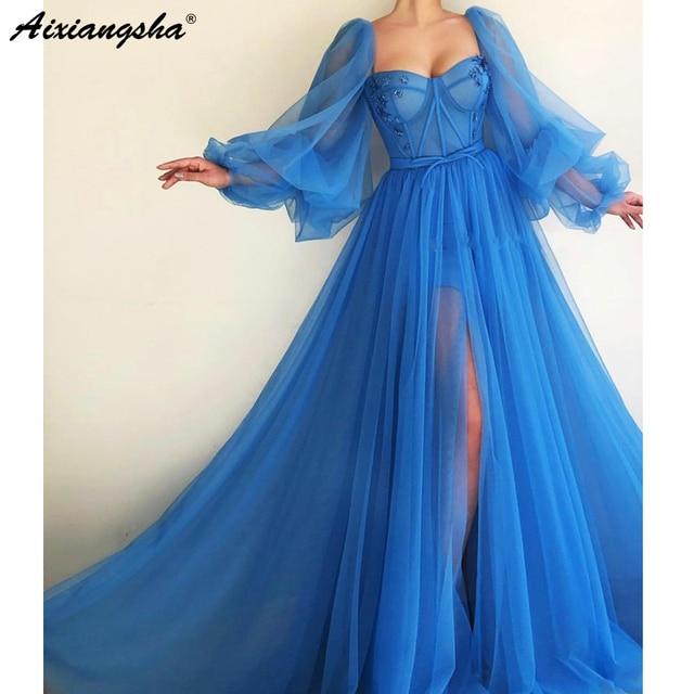 Romantic Blue Muslim Evening Dresses 2019 A line Sweetheart Long Sleeves Tulle Islamic Dubai Saudi Arabic Long Evening Gown Prom