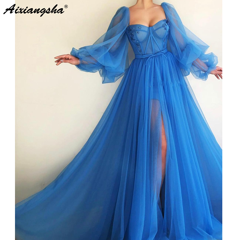 Romantic Blue Muslim   Evening     Dresses   2019 A-line Sweetheart Long Sleeves Tulle Islamic Dubai Saudi Arabic Long   Evening   Gown Prom