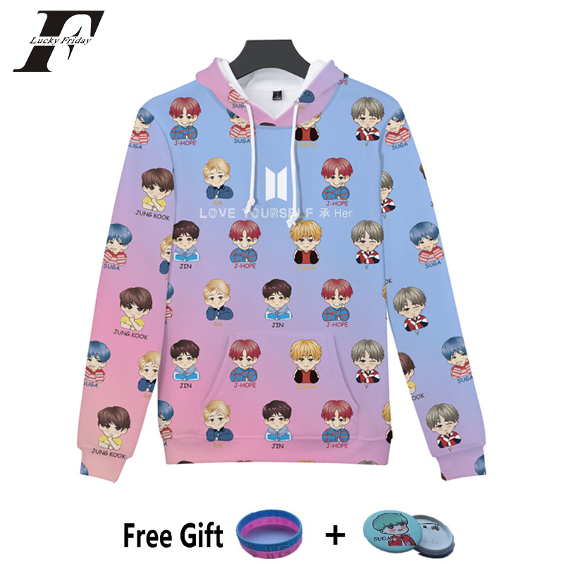 LUCKYFRIDAYF 2018 BTS 3D Print Bangtan Boys Women Hoodies Sweatshirt Kpop Idol Fashion Hoodies Sweatshirt Female Fans