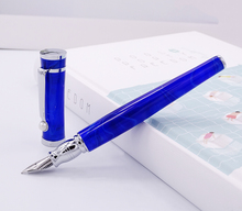 Fuliwen Celluloid Fountain Pen Maple Leaf Pure Blue , Fine Nib Fashion Writing Gift Pen Business Office Home School Supplies