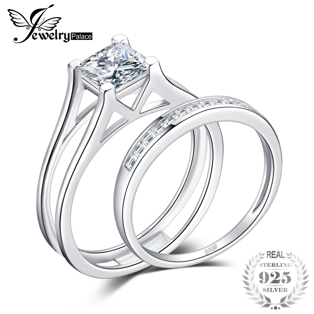 JewelryPalace 2ct Princess Cut Solitaire Anniversary Engagement Ring Bridal Channel Set Wedding Band 925 Sterling Silver On SaleJewelryPalace 2ct Princess Cut Solitaire Anniversary Engagement Ring Bridal Channel Set Wedding Band 925 Sterling Silver On Sale