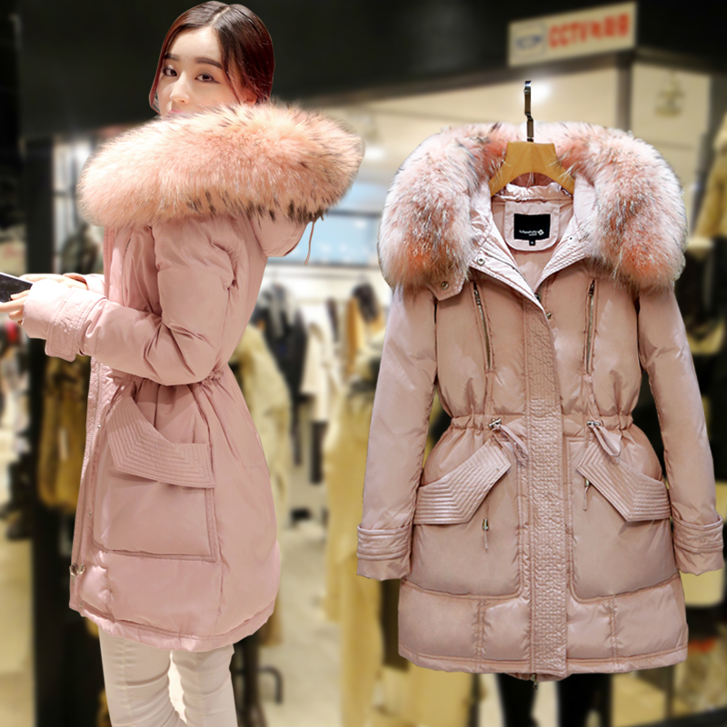 New Korea Women's Duck   Down     Coat   Large Real Genuine Fur Collar 2018 Female Plus Big Size Jacket 2XL 3XL 4XL 5XL Pink Blue Black