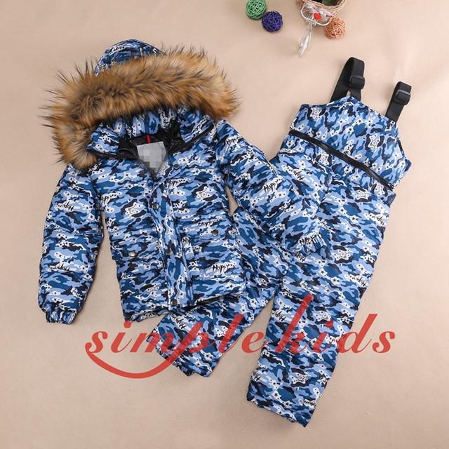 Chaqueta de Piel Real 2016 de invierno niño Abajo ropa abajo de los niños algodón conjunto traje de esquí chaqueta de Camuflaje Unisex abajo trajes de esquí conjunto