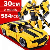 Hot Film bild super transformation robot bumble bee Chevrolet Muscle sport auto Camaro gebäude block modell spielzeug sammlung