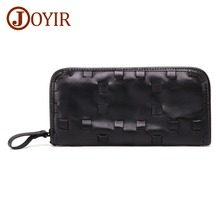 JOYIR New Genuine Leather Mens Wallet  Business Thin Design Handy Slim Male Long