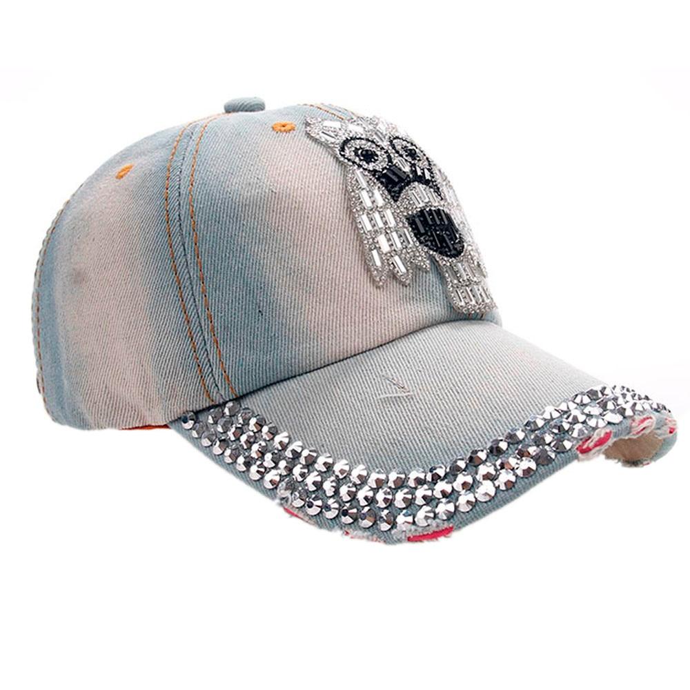 96ec0f431a6 Spring Women Men Owl Denim Rhinestone Baseball Cap Snapback Hip Hop Flat Hat  Random Color A 487