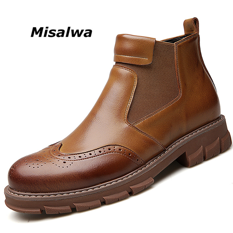 Misalwa Retro Boys Boots New Yr 2019 Brief Wedding ceremony Costume Man Brogue Sneakers Break up Leather-based Traditional Black Boots Winter Snow Flats