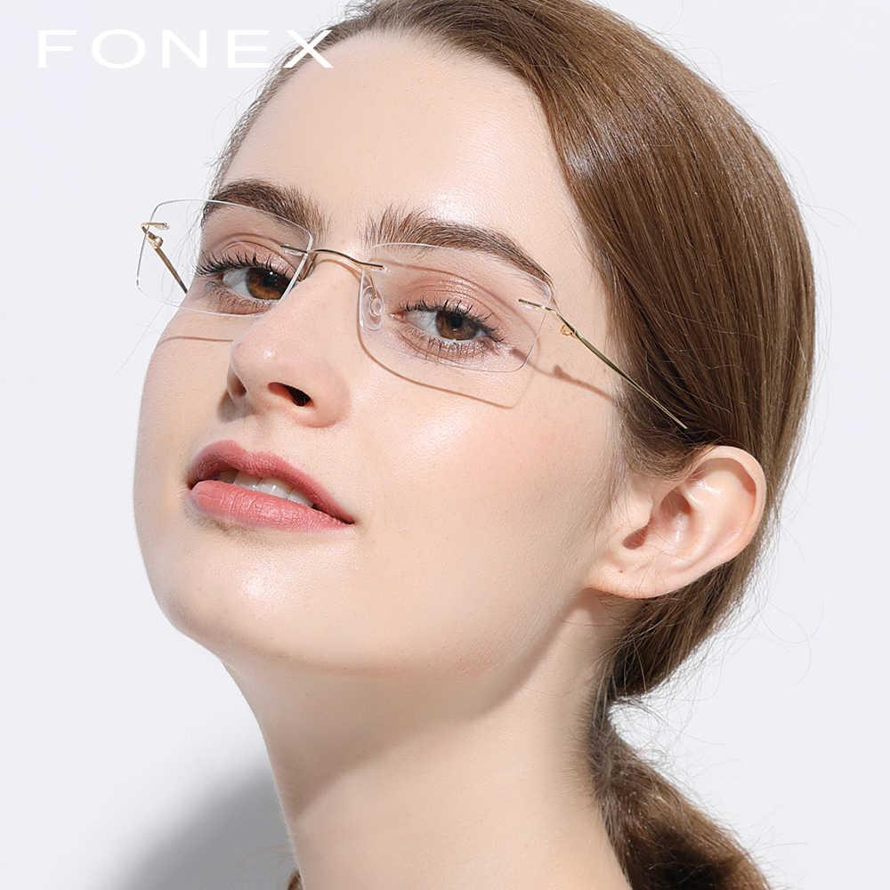 2905807e52cd ... Rimless Titanium Glasses Frame Men Ultralight Square Prescription  Eyeglasses Women Light Frameless Myopia Optical Frames Eyewear ...