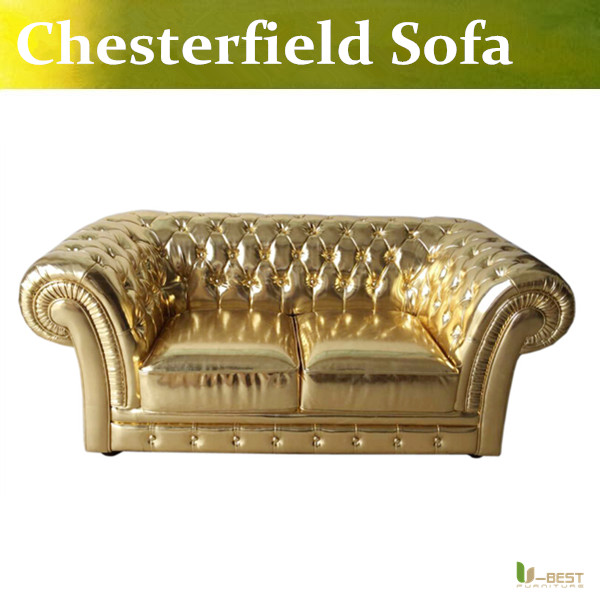 U-BEST new model golden Chesterfield antique sofa,fashion gold loveseat sofa small size department sofa,designer 2 seater sofa u best barcelona 2 seater sofa modern top grain genuine leather barcelona sofa loveseat