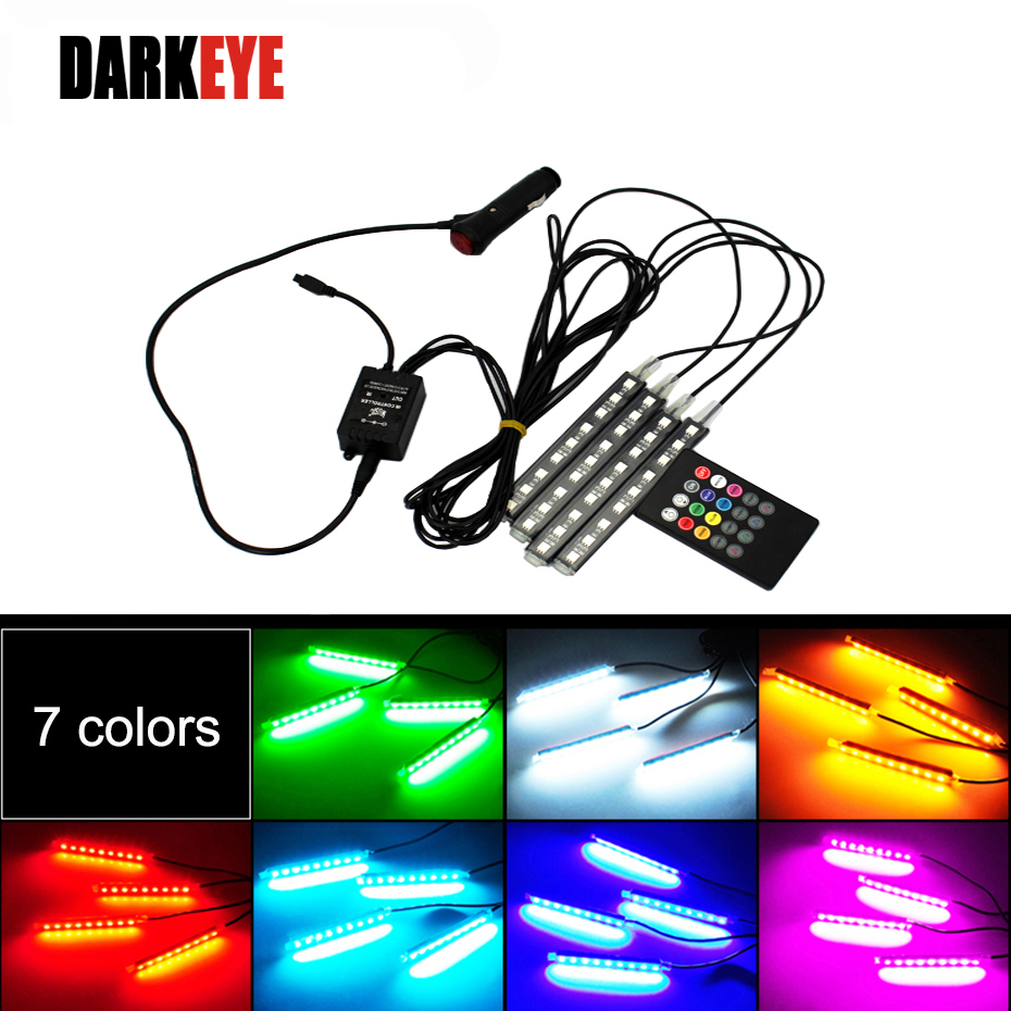 Car RGB Lights LED Strip 3M Neon Lamp Decorative Atmosphere Lights Wireless Remote/Music/Voice Control Car Interior Light