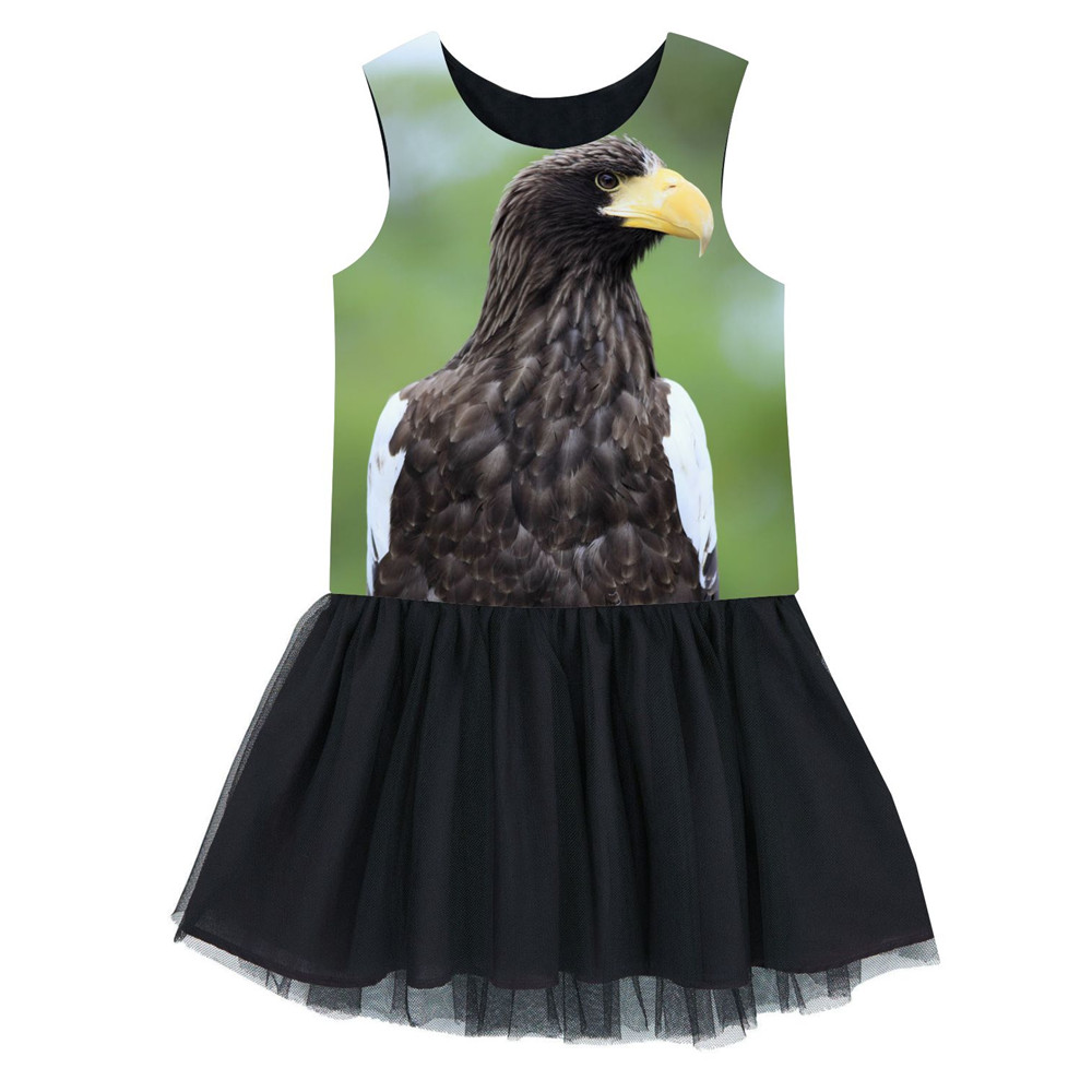 girls Children dress fashion Black bird printing New summer Dress  kids Clothes 2-10years kids dress