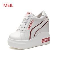 Casual Shoes Women 2018 Fashion White Hidden Wedge Heels Platform Sneakers Shoes Woman High Heels Wedges