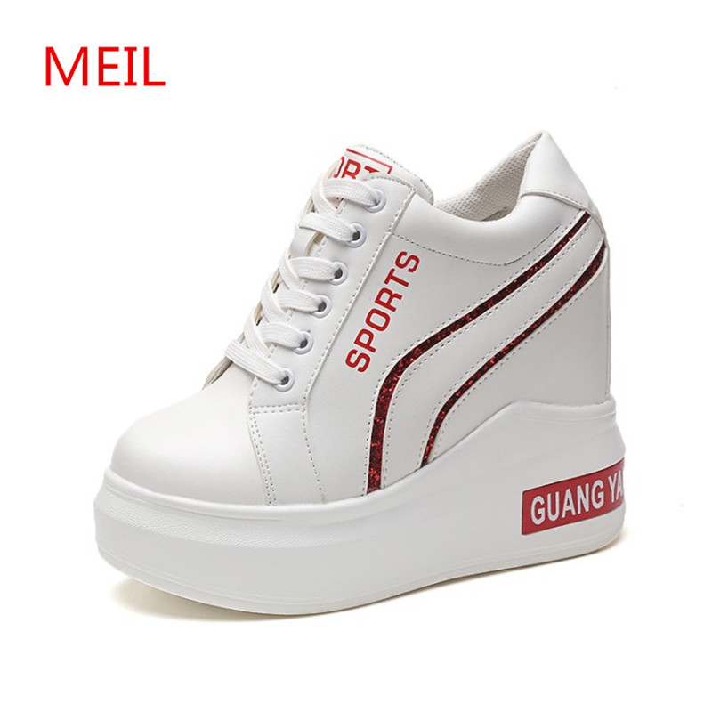ae26e9f83c2 Casual Shoes Women 2018 fashion White Hidden Wedge Heels Platform sneakers  Shoes Woman High heels wedges Shoes For Women