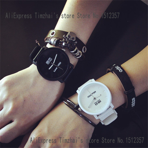 Fashion Chinese Word Miss You Design The Young Couple Lovers Watches