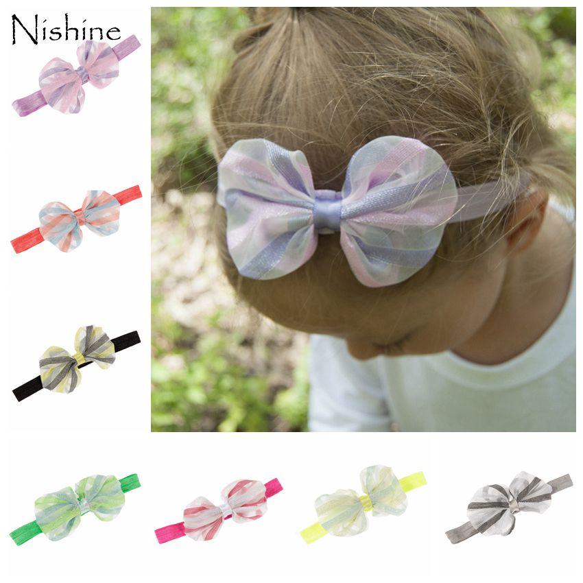NISHINE New Arrival Lace Chiffon Bow Headband Do Bebê Da Menina Bowknot Hairiband Elastic Headwear Decoração Do Partido
