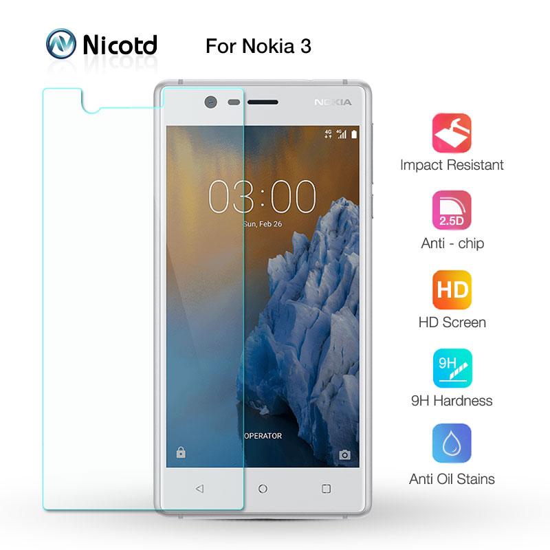 Protector de pantalla para Nokia 3 5,0 pulgadas Nicotd 9 H 2.5D vidrio Premium templado para Nokia 3 Nokia3 2017 9 película protectora de vidrio