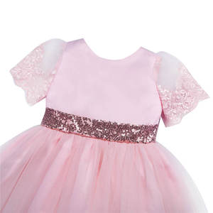Image 4 - Iefiel 유아 아기 소녀 수 놓은 짧은 소매 sequined bowknot 꽃 소녀 첫 성찬식 공주 결혼식 미인 대회 드레스