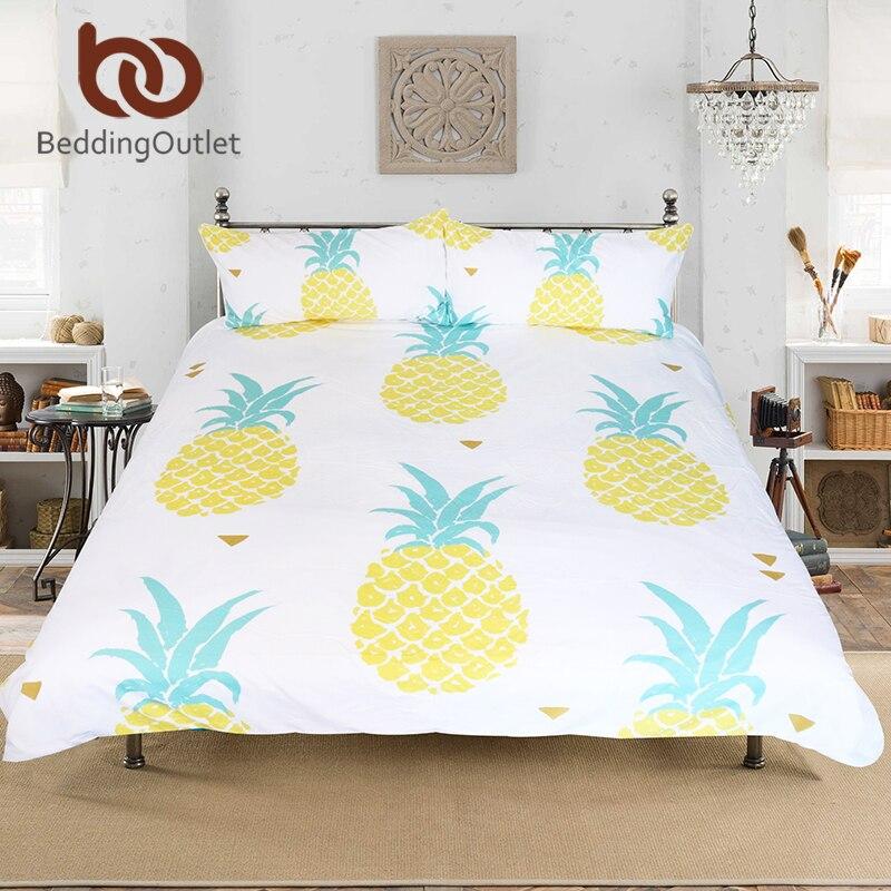 BeddingOutlet Dropshipping Ananas Set di Biancheria Da Letto Dolce Stampato Frutta Lenzuolo Morbido In Microfibra Duvet Cover Set 3 pz 4 Formati