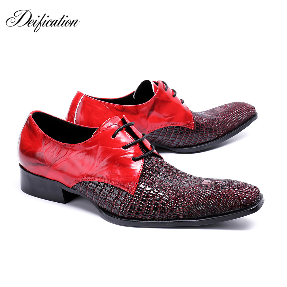 где купить Deification Luxury Red Genuine Leather Mens Wedding Shoes Fashion Lace Up Formal Shoes Business Men Party Shoes Chaussure Homme дешево