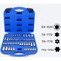 61PC Screwdriver allen head Drive sleeve Wrench Spline Bit Socket Set For Tamper Proof Lug Nuts E4 E24 T6 T70 TP6 TP60