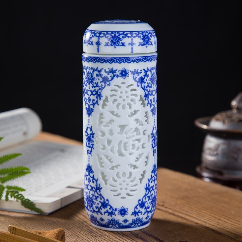 Blue And White Porcelain Cup Full Ceramic Liner Double Layer