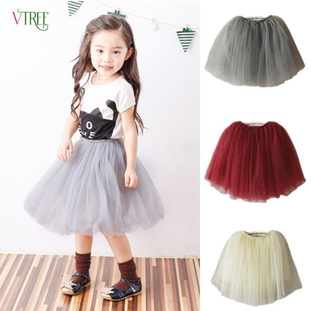 2016 New Girls Tutu Skirt Lovely Soft Tulle 4 Colors Girls Skirts For 2-14Year Kids Pettiskirt Fashion Roupas Infantis Menina