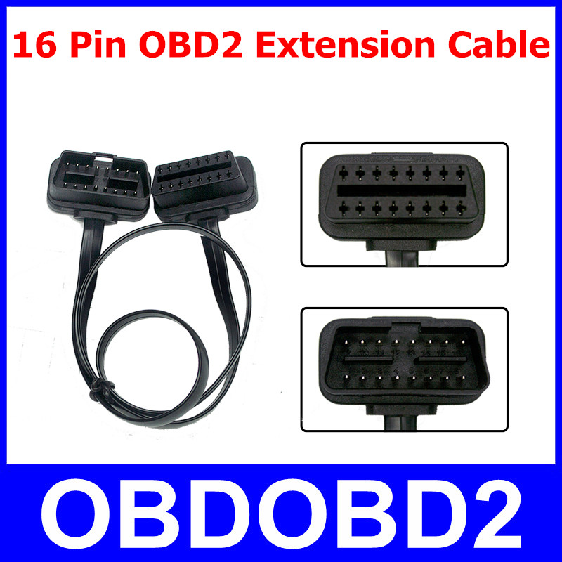 Universal OBD2 16 Pin Male To Female Extension Cable 16pin OBDII Diagnostic Connector ELM327 Flat Thin As Noodle Adapter elm327 obd obd2 16pin male to female extension cable 30cm transfer connector obd2 16 pin adaptor obd2 car diagnostic adapter