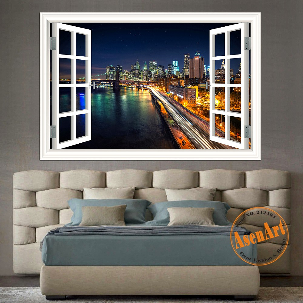 New york brooklyn high quality 3d wall sticker removable for Home decor 3d wallpaper
