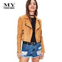 Мой mayaasos 2017 Новинки для женщин модная куртка кожаные мотоциклетные серны на молнии Короткая куртка повседневная Уличная Женская куртка