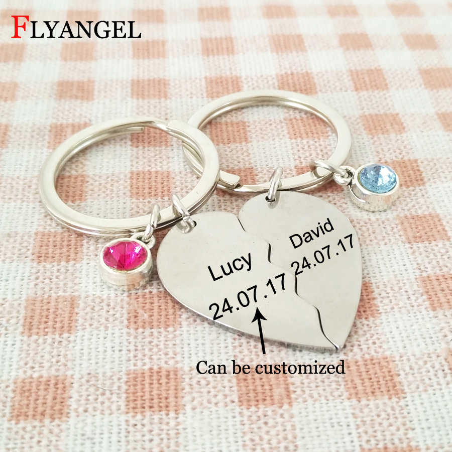 9b43ef95b9 Fashion Broken Heart Shape Key Chain Couple Friendship Birthstone Keychains  Jewelry Customized Name and Date Keyring