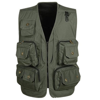 Removable Cotton Multi Pockets Jacket Mesh Vest For Fly Fishing Hunting Green XL