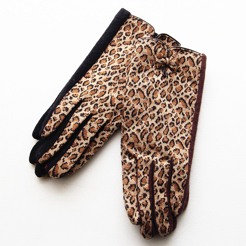 Autumn winter wool gloves women's warm leopard fashion bow decoration fashion high-end atmosphere driving driving gloves D19