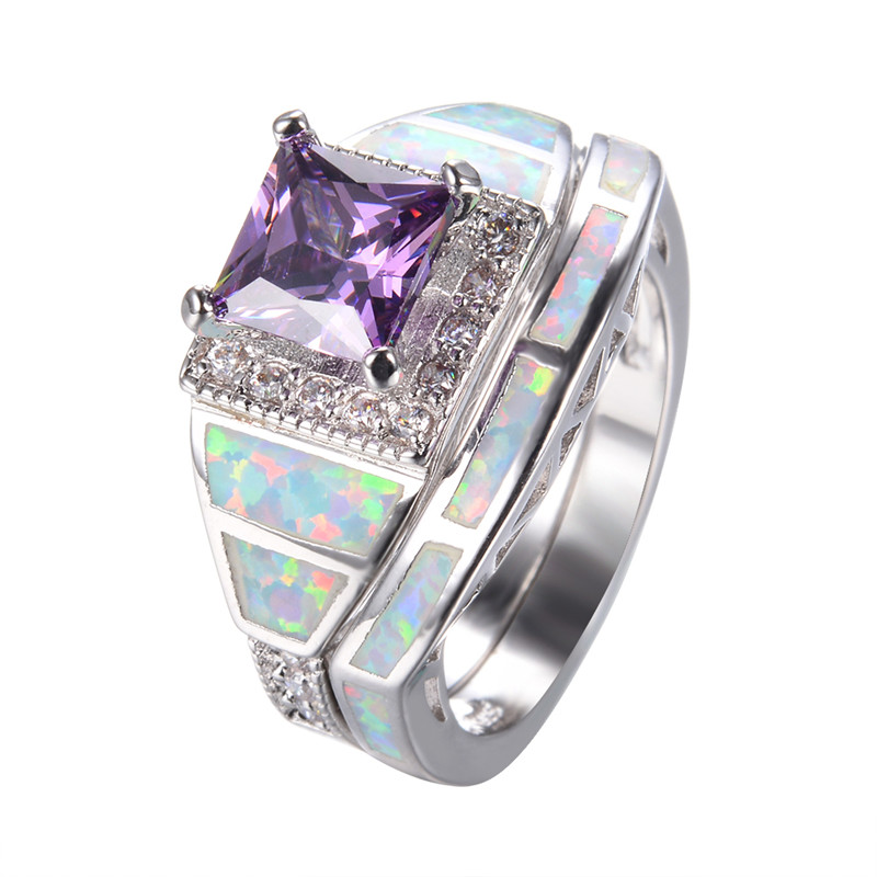 925 Sterling Silver Purple Wedding Ring Set For Women