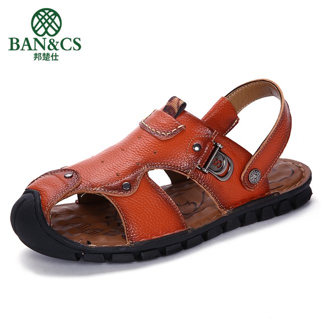 4ffc209e9e195a BANGCHUSHI Men s 100% Genuine Leather New Famous Brand Casual Men sandals  Slippers Summer Shoes Beach Sandals 2019