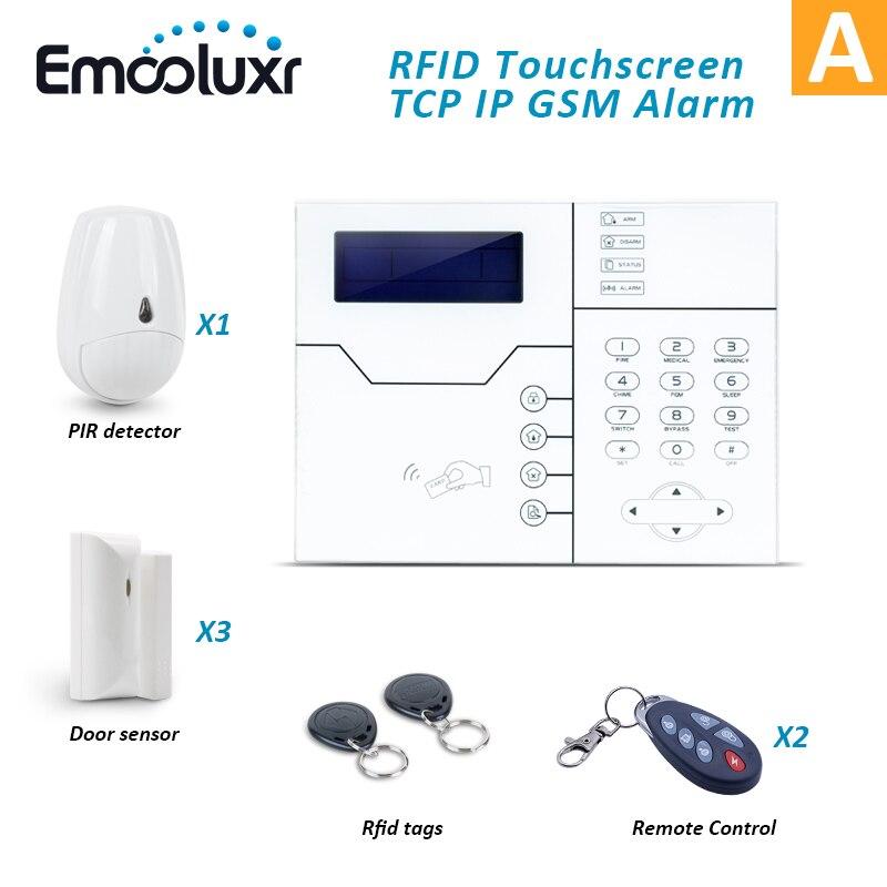 Беспроводная сетевая сигнализация TCP/IP RJ45 GSM, система охранной сигнализации для домашнего офиса, Встроенная перезаряжаемая батарея