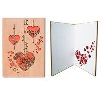 Giftgarden деревянные ажурные гравировка розы и сердце поздравительная открытка лазерная резка, для свадьбы приглашения