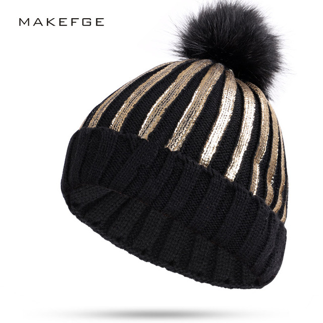 Hot New Stamping winter hats for women knit Pom Poms hat cap Brand Beanie  Hat LadiesThicken 07603d817596
