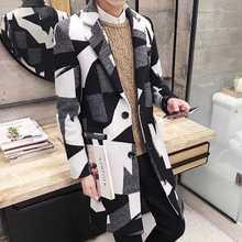 Плюс Размер Нагрудные Воротник Геометрическая Шерстяные Пальто Мужчины 2016 Осень зима Новая Мода Манто Homme Шерсть & Смеси Пальто 4089